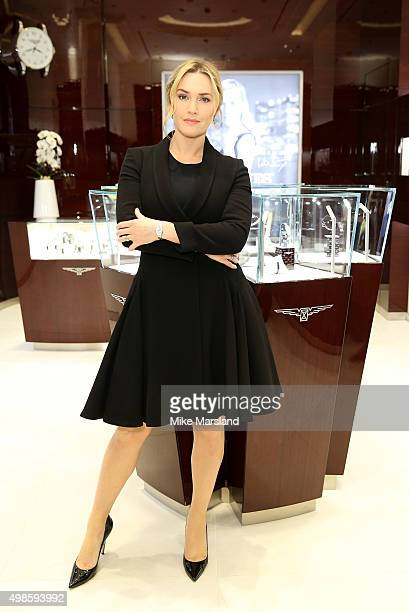 Longines Ambassador of Elegance Kate Winslet attends the Longines Boutique Oxford Street London opening on November 24 2015 in London England