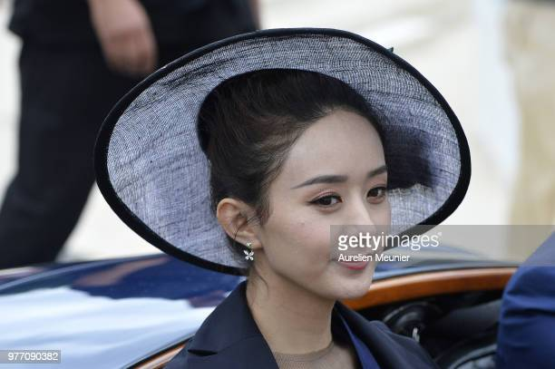Longines brand ambassador Zhao Liying attends the Prix de Diane Longines 2018 on June 17 2018 in Chantilly France