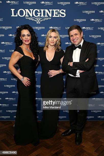 Longines UK Brand Director Katrina Jones Longines Ambassador of Elegance Kate Winslet and Longines VicePresident JuanCarlos Capelli attend the...