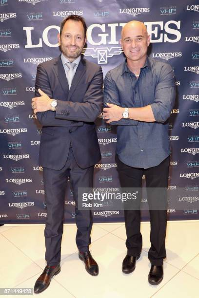Longines US Brand President Pascal Savoy and Longines Ambassador of Elegance Andre Agassi appear as Longines launches the Conquest VHP at the...