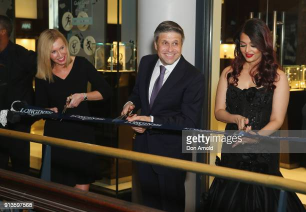 Longines VicePresident JuanCarlos Capelli and Aishwarya Rai Bachchan cut the ribbon during the official Longines Australian boutique launch on...