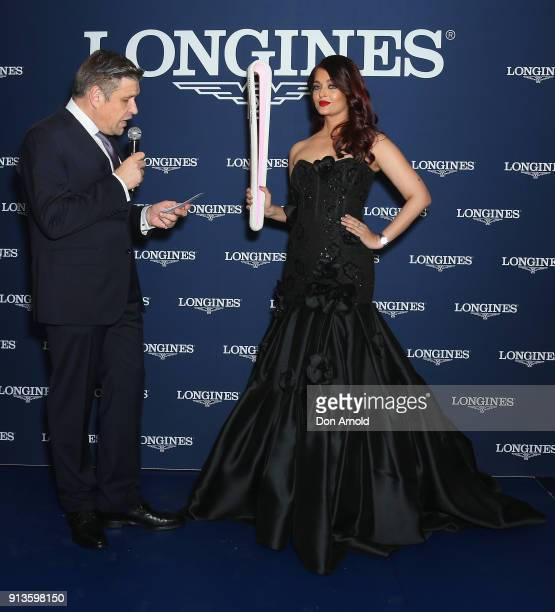 Longines VicePresident JuanCarlos Capelli and Aishwarya Rai Bachchan address fans during the official Longines Australian boutique launch on February...