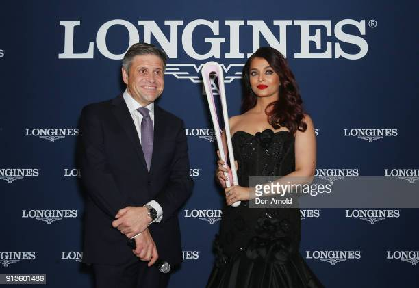 Longines VicePresident JuanCarlos Capelli and Aishwarya Rai Bachchan pose during the official Longines Australian boutique launch on February 3 2018...