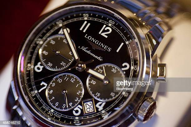 A Longines watch manufactured by Cie des Montres Longines Francillon SA sits on display ahead of Daylight Saving Time at the Tourneau Inc Madison...