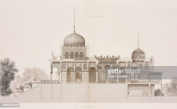 Longitudinal section of the NeoMoorish pavilion designed by Alfred Chapon for the 1867 Paris World's Fair France engraving from Revue generale de...