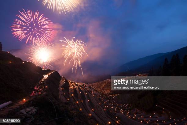 longji rice terraces firework
