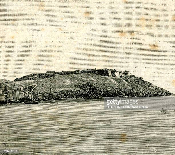 Longone Fort Porto Azzurro Isola d'Elba Tuscany Italy woodcut from Le cento citta d'Italia illustrated monthly supplement of Il Secolo Milan 1887