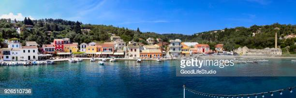 longos village on paxos island - epirus greece stock pictures, royalty-free photos & images
