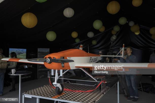 A longrange drone used for checking for offshore leaks sits on display at a BP Plc immersive technology event at the company's International Centre...