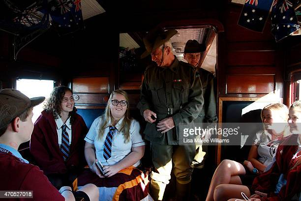 Longreach State High School students ride the ANZAC Troop Train from Longreach to Alpha on April 21 2015 in Longreach Australia The 2015 ANZAC Troop...