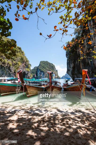 longtail boats, lading island, krabi province, thailand - railay strand stock-fotos und bilder
