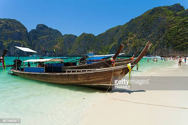 Long-tail Taxi boat on the beautiful beach, Krabi, Thailand