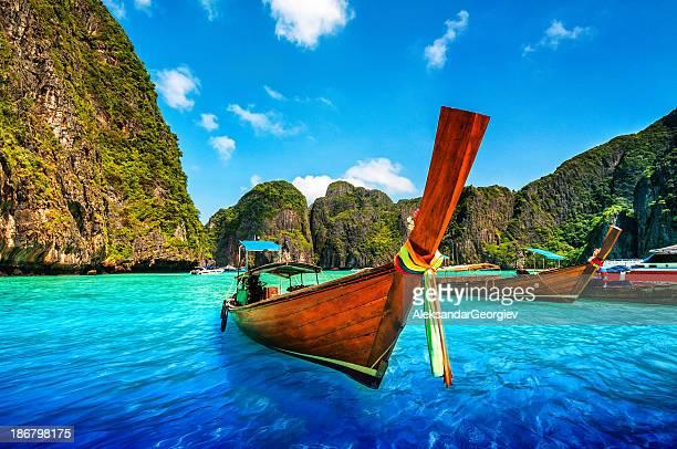 A Longtail Wooden Boat at Maya Bay, Thailand