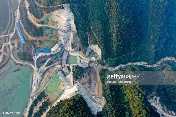 AN CHINA DECEMBER 10 2019 Longtan Reservoir dam area constructed by roller compacted concrete double curvature arch dam Guang'an City Sichuan...