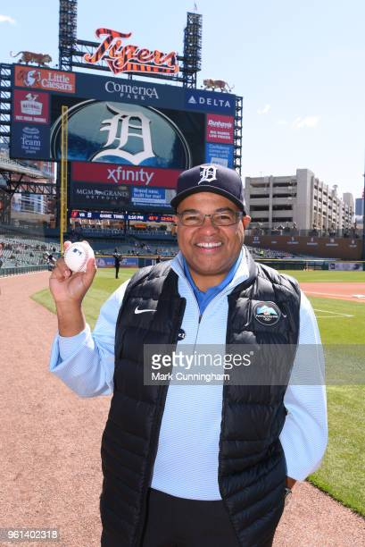 Longtime ESPN broadcaster-turned-NBC Sports announcer Mike Tirico poses for a photo prior to the game between the Detroit Tigers and the Baltimore...