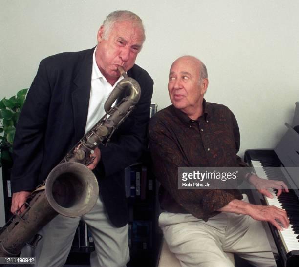 Longtime friends Mel Brooks and Carl Reiner at Culver Studios September 17 1997 in Culver City California