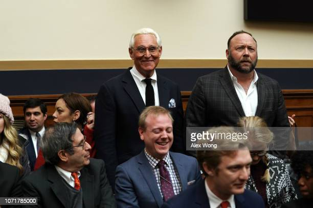 Longtime informal adviser to President Trump Roger Stone and Alex Jones of Infowars attend the hearing of Google CEO Sundar Pichai testifying before...