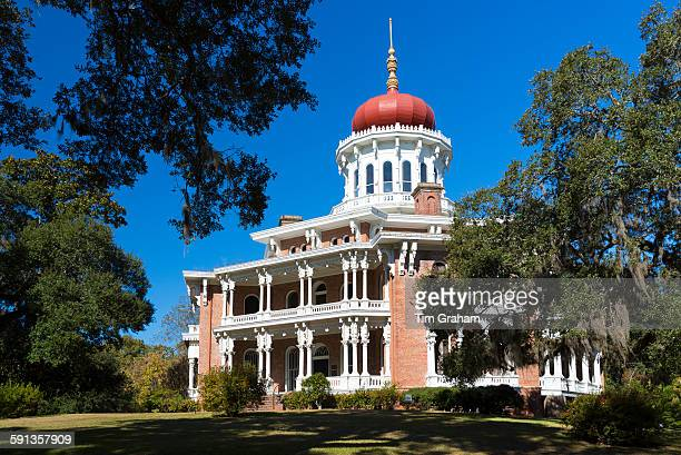 Longwood 19th Century antebellum plantation mansion house with Byzantine dome roof live oak with moss Natchez Mississippi USA