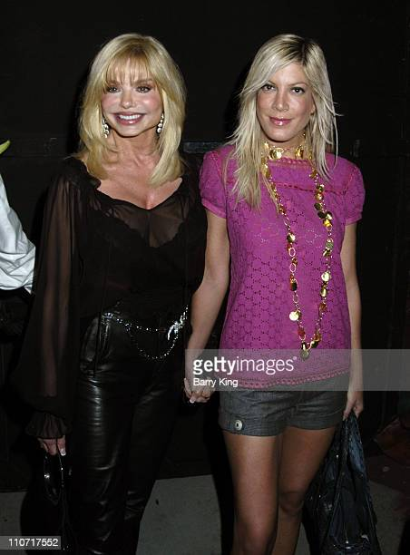 Loni Anderson and Tori Spelling during Third Annual Best in Drag Show Arrivals and Inside at Wilshire Ebell theatre in Los Angeles CA United States
