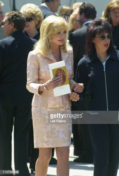 Loni Anderson departs a memorial service for Bob Hope at St Charles Borromeo Catholic Church in the North Hollywood section of Los Angeles August 15...