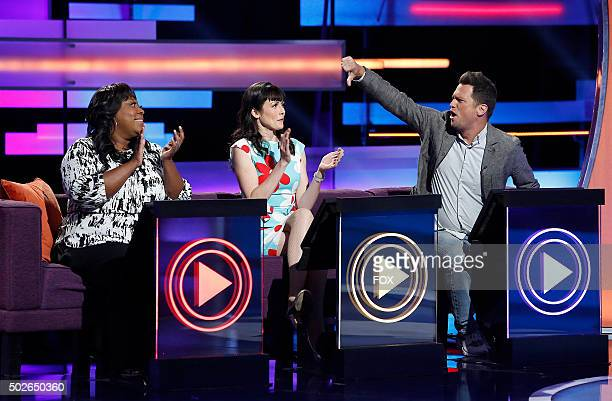 LR Loni Love April Richardson and Julian McCullough in the Meltdowns episode of WORLDS FUNNIEST airing Thursday Dec 17 on FOX
