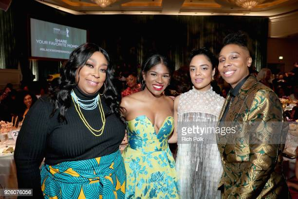 Loni Love Edwina Findley Dickerson Tessa Thompson and Lena Waithe attend the 2018 Essence Black Women In Hollywood Oscars Luncheon at Regent Beverly...
