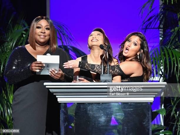 Loni Love Jeannie Mai and Adrienne Houghton onstage at the 49th NAACP Image Awards NonTelevised Awards Dinner at the Pasadena Conference Center on...