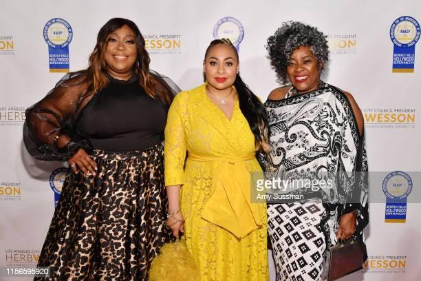 Loni Love, Raven Symone and Loretta Devine attend the 28th Annual NAACP Theatre Awards at Millennium Biltmore Hotel on June 17, 2019 in Los Angeles,...