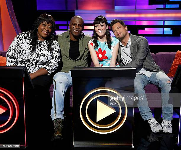 LR Loni Love Terry Crews April Richardson and Julian McCullough in the Meltdowns episode of WORLDS FUNNIEST airing Thursday Dec 17 on FOX