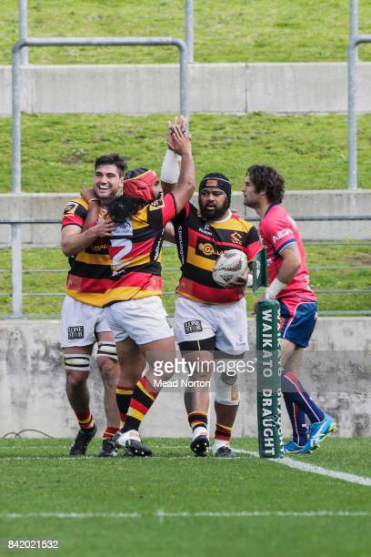 Loni Uhila celebrating after scoring a try during the round three Mitre 10 Cup match between Waikato and Tasman on September 3 2017 in Hamilton New...