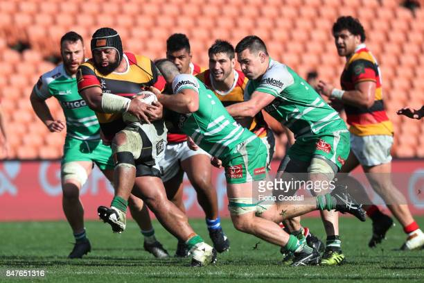 Loni Uhila of Waikato gets through the tacklers during the round five Mitre 10 Cup match between Waikato and Manawatu at FMG Stadium on September 16...