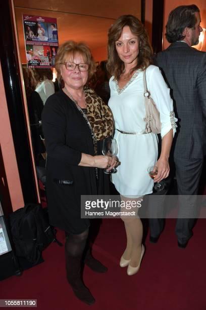 Loni von Friedl and Viola Wedekind attend the premiere of the theatre play 'Arthur & Claire' at Komoedie im Bayerischen Hof on October 31, 2018 in...