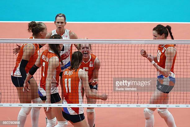 Lonneke Sloetjes Anne Buijs of Netherlands celebrate winning the second set during the Women's Bronze Medal Match between Netherlands and the United...