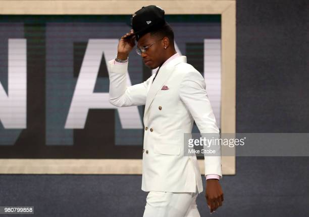 Lonni Walker IV reacts after being drafted 18th overall by the San Antonio Spurs during the 2018 NBA Draft at the Barclays Center on June 21 2018 in...