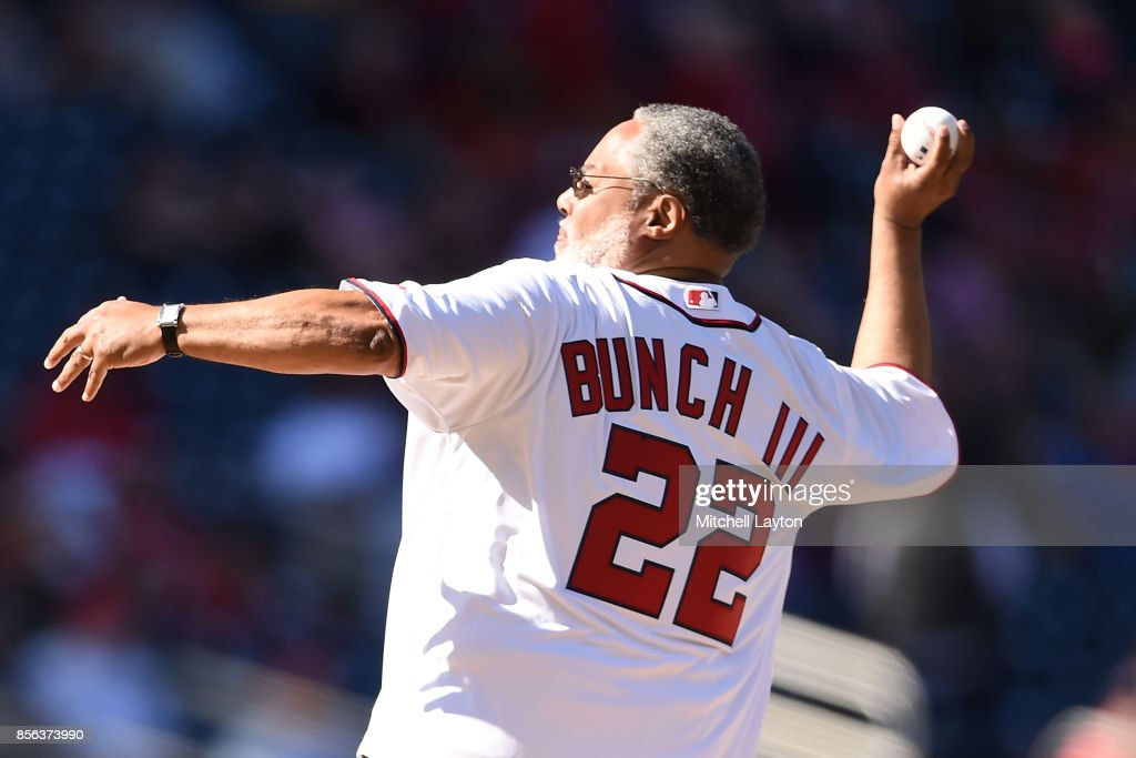 Lonnie Bunch III, Director of National Museum of African American History and Culture, throws out the ceremonial first pitch before a baseball game between the Washington Nationals and the Pittsburgh Pirates at Nationals Park on October 1, 2017 in Washington, DC.