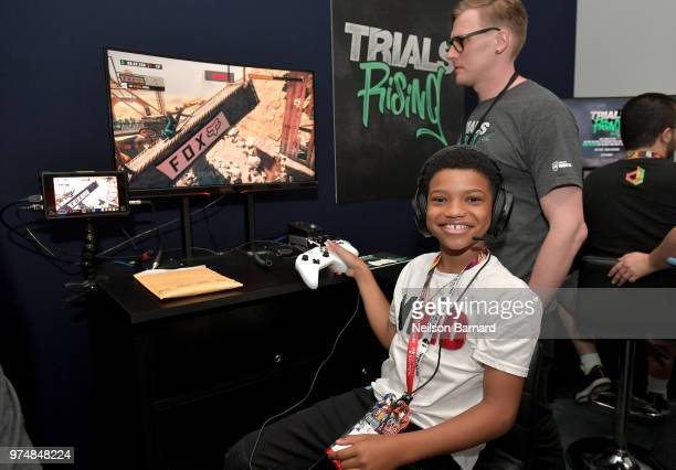 Lonnie Chavis playing Trails Rising during E3 2018 at Los Angeles Convention Center on June 14 2018 in Los Angeles California