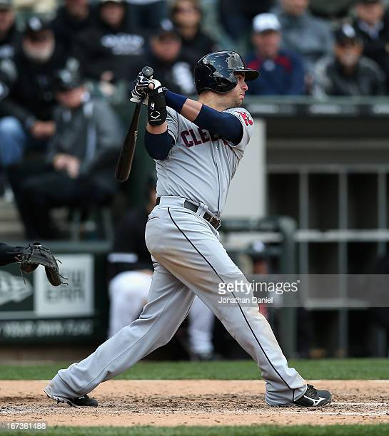 Lonnie Chisenhall of the Cleveland Indians bats against the Chicago White Sox at US Cellular Field on April 24 2013 in Chicago Illinois The White Sox...