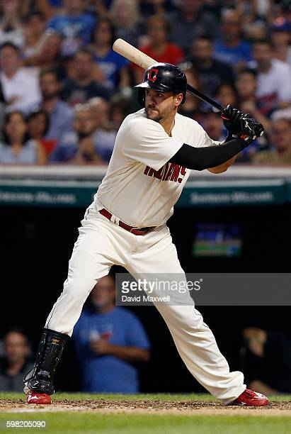 Lonnie Chisenhall of the Cleveland Indians bats against the Toronto Blue Jays during the fourth inning at Progressive Field on August 20 2016 in...