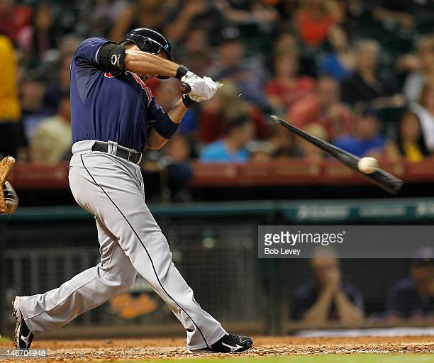 Lonnie Chisenhall of the Cleveland Indians breaks his bat in the fifth inning against the Houston Astros at Minute Maid Park on June 22 2012 in...