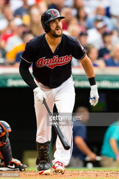 Lonnie Chisenhall of the Cleveland Indians this a two run home run during the third inning against the Detroit Tigers at Progressive Field on July 7...