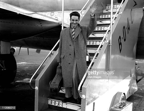 Lonnie Donegan posed on steps of BOAC plane at London Airport 1960