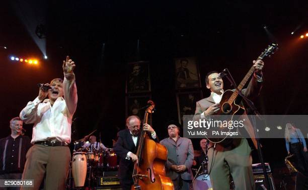 Lonnie Donegan's two sons Anthony and Peter far right with Billy Bragg and Van Morrison performing during during the Lonnie Donegan tribute concert...