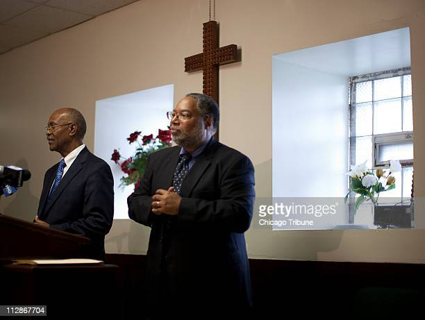 Lonnie G Bunch left director of the Smithsonian's National Museum of African American History and Culture and Simeon Wright cousin of Emmett Till...