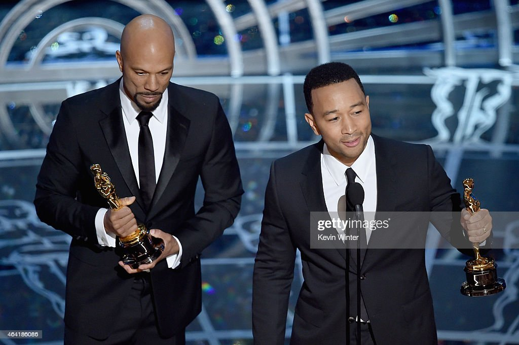 Lonnie Lynn aka Common and John Stephens aka John Legend accept the Best Original Song Award for 'Glory' from 'Selma' during the 87th Annual Academy Awards at Dolby Theatre on February 22, 2015 in Hollywood, California.