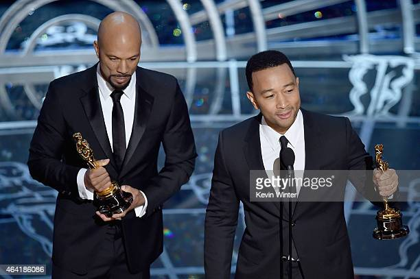 """Lonnie Lynn aka Common and John Stephens aka John Legend accept the Best Original Song Award for """"Glory"""" from """"Selma"""" during the 87th Annual Academy..."""