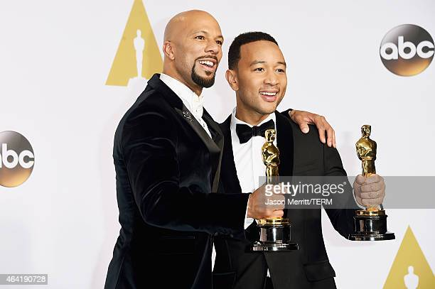 Lonnie Lynn aka Common and John Stephens aka John Legend winners of the Best Original Song Award for 'Glory' from 'Selma' pose in the press room...