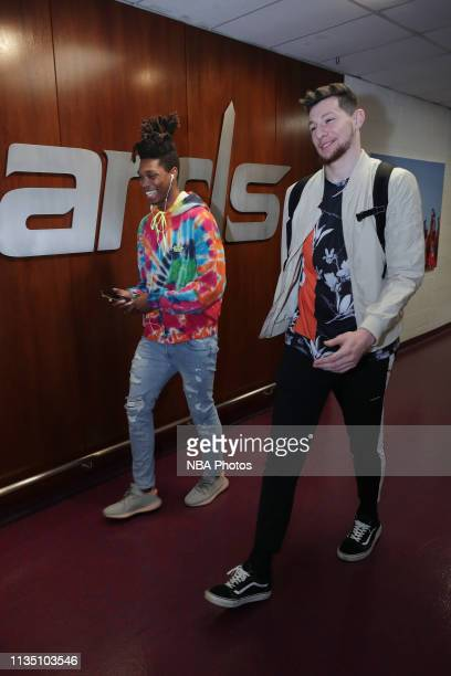 Lonnie Walker IV and Drew Eubanks of the San Antonio Spurs arrive to the arena prior to the game against the Washington Wizards on April 5 2019 at...