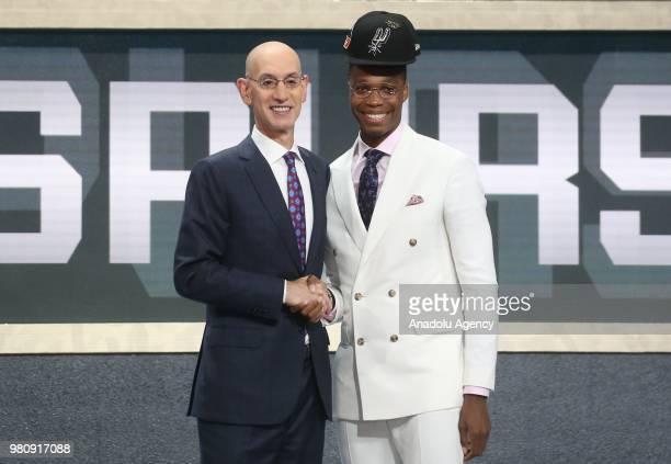 Lonnie Walker IV is seen after being drafted eighteenth overall by the San Antonio Spurs during NBA draft 2018 in Barclays Center in New York United...
