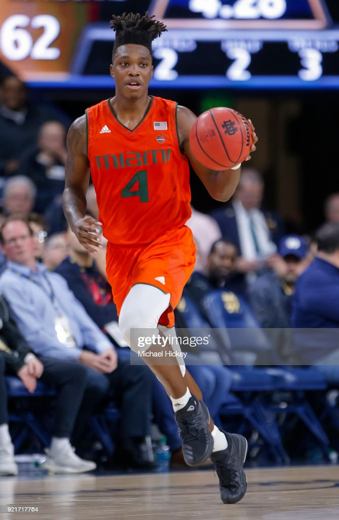 Lonnie Walker IV #4 of the Miami (Fl) Hurricanes brings the ball up court during the game against the Notre Dame Fighting Irish at Purcell Pavilion on February 19, 2018 in South Bend, Indiana.