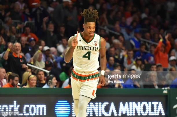 Lonnie Walker IV of the Miami Hurricanes reacts after hiting a three point basket in the first half against the Duke Blue Devils at The Watsco Center...
